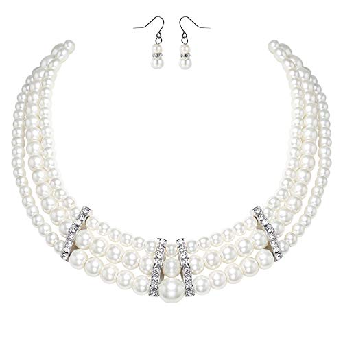 (BABEYOND 1920s Gatsby Pearl Necklace Vintage Bridal Pearl Necklace Earrings Jewelry Set Multilayer Imitation Pearl Necklace with Brooch (Style 6-White))