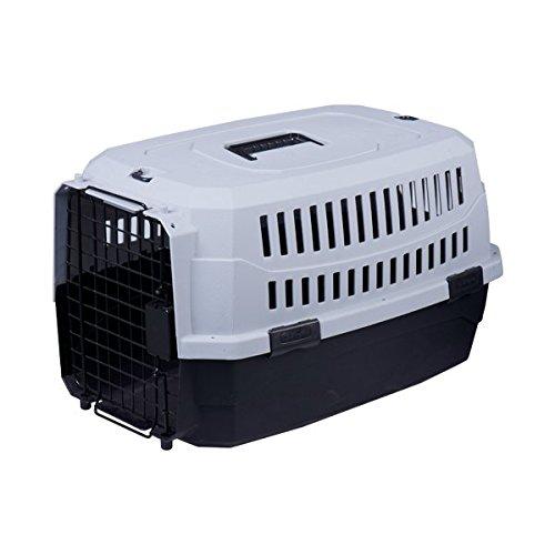 Transportín rígido para perros o gatos Nobleza, color negro y gris, largo 46cm