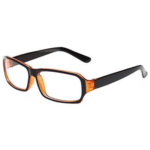 FancyG Vintage Inspired Classic Rectangle Glasses Frame Eyewear Clear Lens - Black - Glasses Prescription Orange