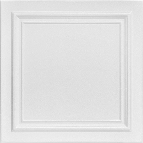 A la Maison Ceilings 1993 Line Art  Styrofoam Ceiling Tile Package of 8 Tiles Plain White