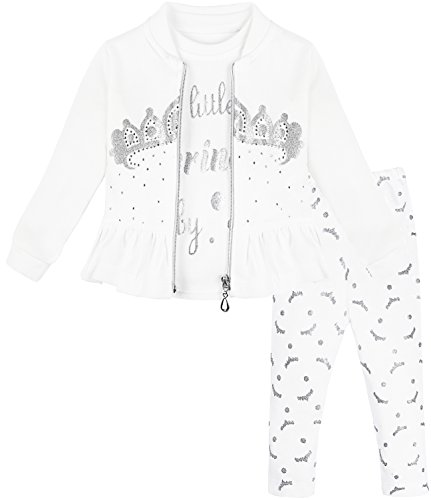- Lilax Baby Girl Soft Cotton Glitter Crown Print T-Shirt, Pant, and Jacket 3 Piece Set 12M Gray