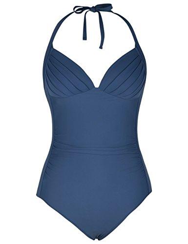 coastal rose Women's Halter Ruched One Piece Swimwear V-Neck Bathing Suit Tummy Control Monokinis Swimsuit US16 Malachite Green