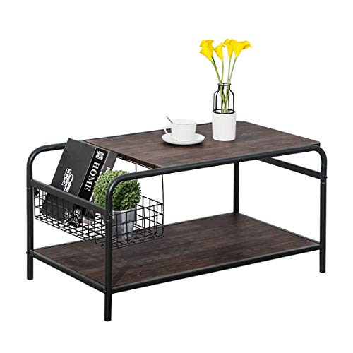 Rustic Coffee Tables with Storage, Living Room Wood Coffee Table with Industrial Metal, Modern Vintage Sofa Side Tables Cocktail Space Saving Organizer, Walnut Black