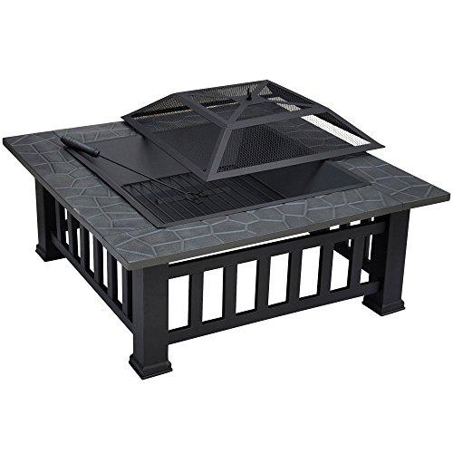 - Square 32'' Outdoor Metallic Garden Fire Pit BBQ Grill Brazier Square Stove Patio Heat Resistant