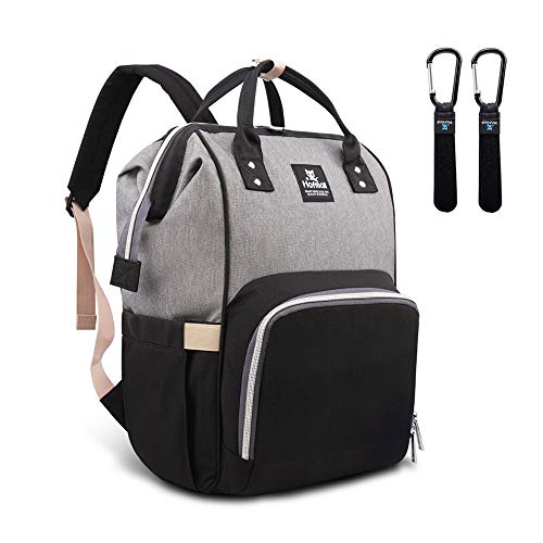 Hafmall Diaper Bag Backpack Waterproof Large Capacity Insulation Travel Back Pack Nappy Bags Organizer, Multi-Function, Fashion and Durable (Gray-Black)