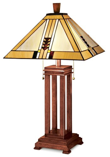 Mission Prairie Table Lamp by Robert Louis (Mission Oak Glass Table)
