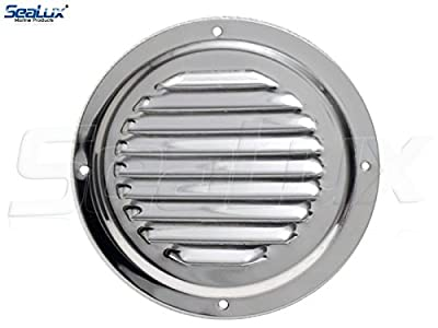 SeaLux Stainless Steel 6 Inch Marine Boat Engine Louvered Style Vent Cover