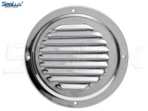 SeaLux Stainless Steel 4 Inch Marine Boat Engine Louvered Style Vent Cover (Vent Louvered Steel Stainless)