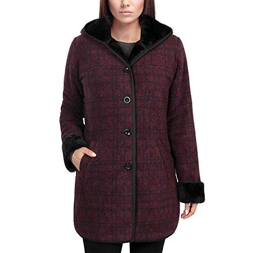 Ike Behar Ladies' Plush Lined Hooded Jacket Faux Fur Medium (Medium, Burgundy Plaid)
