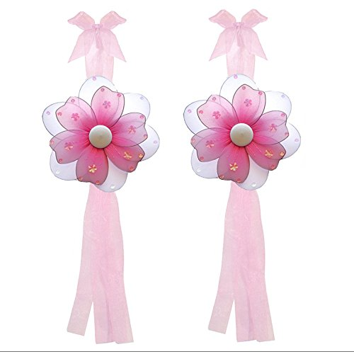 Flower Curtain Tiebacks Dark Pink Fuchsia Multi-Layered Nylon Flowers Pair Set Decorations Window Treatment Holdback Sheer Drapes Holder Drapery Tie Back Baby Nursery Children Bedroom Girl Room Home