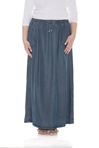 Esteez Denim Maxi Skirt For Women 100% Tencel Atlanta Dark Blue XX-Large