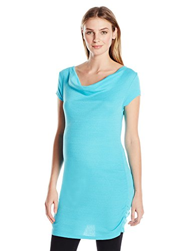 Michael Stars Women's Maternity Shine Short Sleeve Drape Neck Tee, Belize, One Size