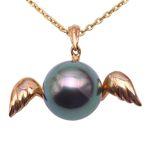 Pearl Green South Sea Round (JYX Pearl Tahitian Pendant Specially 10.5mm Round Peacock-green Pearl Necklace Jewelry in 14K Gold)