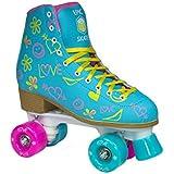 Epic Splash High-Top Indoor / Outdoor Quad Roller Skates w/ 2 pr of Laces (Pink & Yellow) - Women's