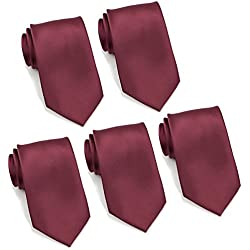 "Mens Formal Tie Wholesale Lot of 5 Mens Solid Color Wedding Ties 3.5"" Satin Finish (Burgundy)"