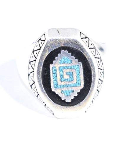 Nemesis Jewelry NYC Vintage Southwestern Inlay Blue and Black Zuni Pattern Men's Ring from Nemesis Jewelry NYC