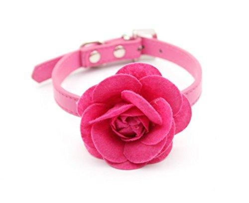 Enjoying Fancy Rose Flower Collar PU Dog Collar Rose -Large