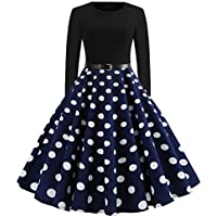 COPPEN Women Long Sleeves Christmas Neck Style Knee Length Ball Gown Evening Dresses Black