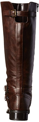 Leatherette High Boot Riding Room Brown Knee Fashion 5 Of 7 Toe B US Round M Women's 8q1tw