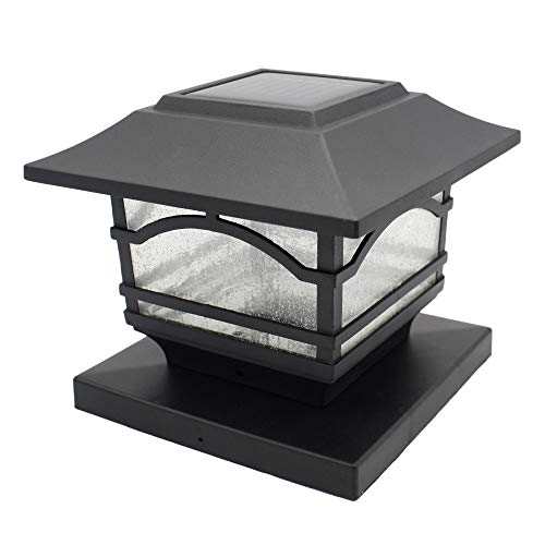 Davinci Premium Solar LED Post Cap Light - Outdoor Light for Fence Deck or Patio - Solar Powered Caps, Warm White Lighting, Aluminum, Lamp Fits 4x4 or 6x6 Posts