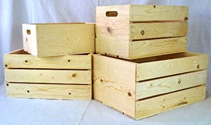 Four piece wooden nostalgic crate and box set for storage or shelving
