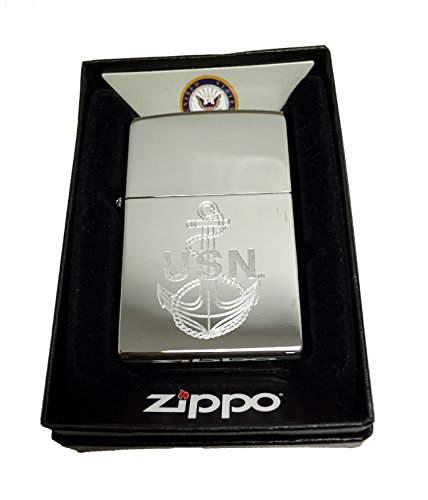Zippo Custom Lighter - U.S. Navy Laser Engraving with Anchor Logo - Regular High Polish - Zippo Seals Navy