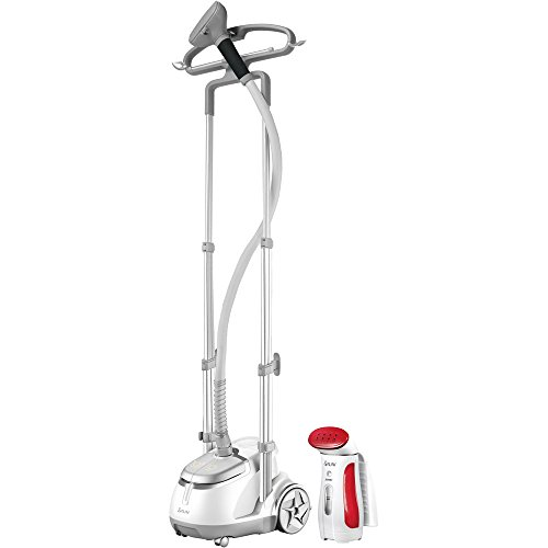 Professional Garment Steamer and Handheld Travel Steamer - Silver/Red by SALAV