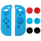 eXtremeRate® Silicone Case Thumb Stick Caps Gel Guards for Nintendo Switch Joy-Con Controller Protector Protection Kits Blue