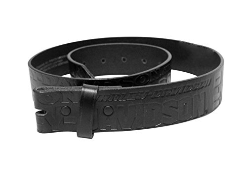 [Harley-Davidson Mens Perfect Ride H-D Name Repeat Design Strap Only Black Leather Belt - 34] (Harley Belt Buckles)