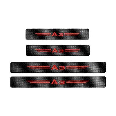 MAXDOOL 4Pcs Audi S line Door Sill Protector Reflective 4D Carbon Fiber Sticker Decoration Door Entry Guard Door Sill Scuff Plate Stickers for Audi A4 A3 Q5 Q3 S3 S4 S line Quattro RS7 (A3-Red): Automotive