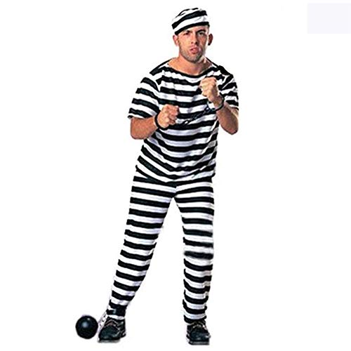 Prisoner Overall Jumpsuit, Halloween Adult Mens Orange Convict Suit Fancy Dress Costume Robber Burglar Fancy Dress Costume, Convict Prison Inmate Fancy Dress Costume Outfit(male short sleeve,2#)