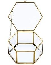 Hipiwe Vintage Glass Jewelry Box - Golden Hexagonal Jewelry Display Organizer Keepsake Box Home Decorative Box Case for Storage Trinket Ring Earring Chest