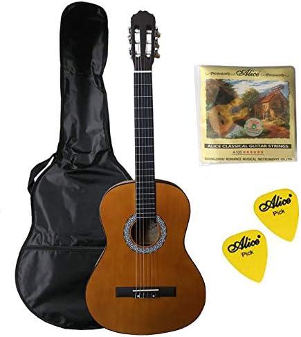 Navarra NV 4/4 - Guitarra clásica con bolsa, miel con 2 púas y 1 ...