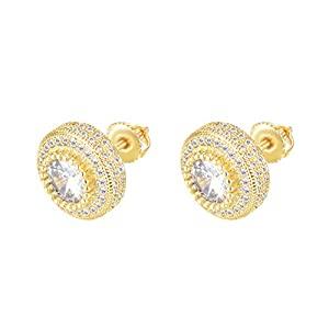 Best Epic Trends 410pBVCsSgL._SS300_ CHARLINLIOL 18K Gold Plated 925 Sterling Silver Iced Out Cubic Zirconia Screw Back Stud Earring For Men and Women…
