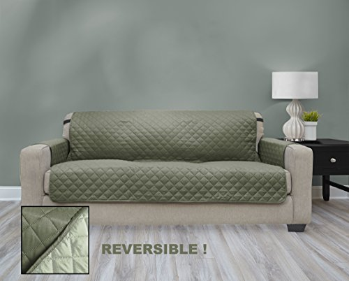 Premium Quality Reversible Couch Cover for Dogs, Kids, Pets - Sofa Slipcover Set Furniture Protector for 3 Cushion Couch, Recliner, Loveseat and Chair (Extra Wide Couch / Sofa, Olive / Sage)