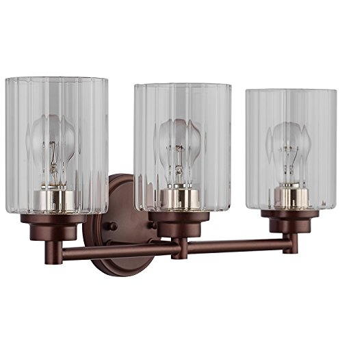 Clear Glass Wall Sconce Light Fixture1/3 Globe Vanity Bath Light (Brown,3 Light) LED Bulb(not Include)