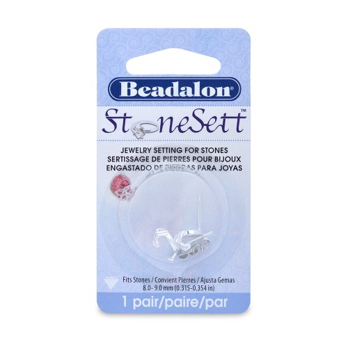 Artistic Wire Beadalon 2-Piece Silver Plated Hearts Drop Stonesett with Plastic Earnuts, 8 to 9mm