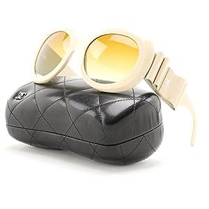 Chanel 5282Q Oversized Round Sunglasses 1428/S9 Cream / Brown Gradient Polarized