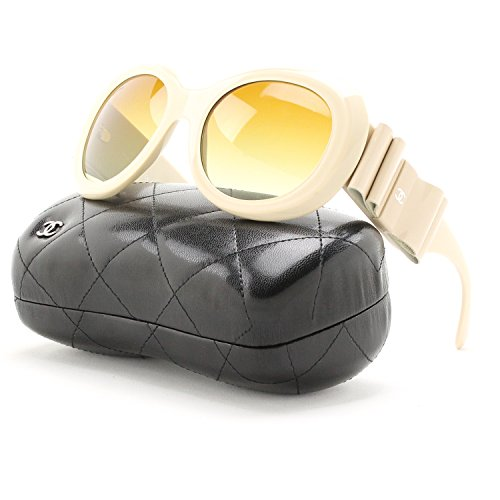 Chanel 5282Q Oversized Round Sunglasses 1428/S9 Cream / Brown Gradient - Sunglasses Chanel