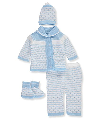 Knit Baby Layette (Famous Brand Baby Girls' 4-Piece Knit Layette Set - blue, 0-3 months)