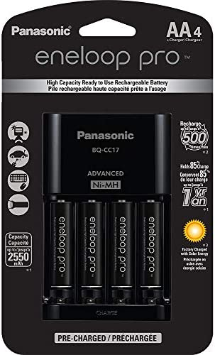 Panasonic K-KJ17KHCA4A Advanced Individual Cell Battery Charger Pack with 4 AA eneloop professional High Capacity Ni-MH Rechargeable Batteries,Black,4-Pack