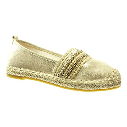 Angkorly Women's Fashion Shoes Espadrilles - Slip-on - Jewelry - Multi Straps - Shiny Flat Heel 2.5 cm Gold
