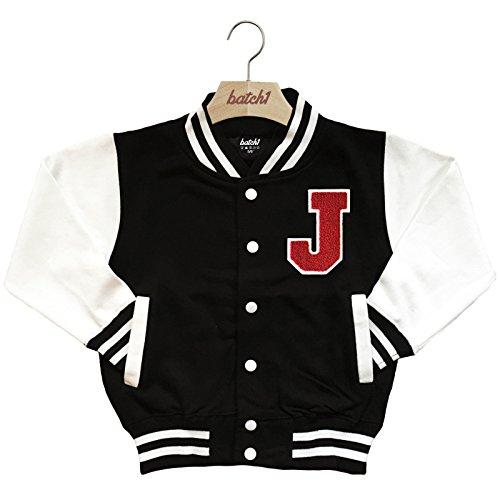 Batch1 Kids Varsity Baseball Jacket Personalised With Genuine Us College Letter J (5-6 Years, -