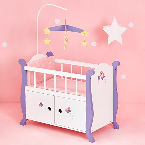 Olivia's Little World - Princess Baby Doll Furniture - Nursery Crib Bed with Storage Cabinet (White) | Wooden 18 inch Doll Furniture