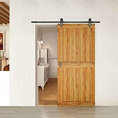 Juego de armario de madera para puerta, estilo Gugutogo Retro, para puerta corredera, armario, rodillo de madera, para una sola puerta de madera, color negro: Amazon.es: Bricolaje y herramientas