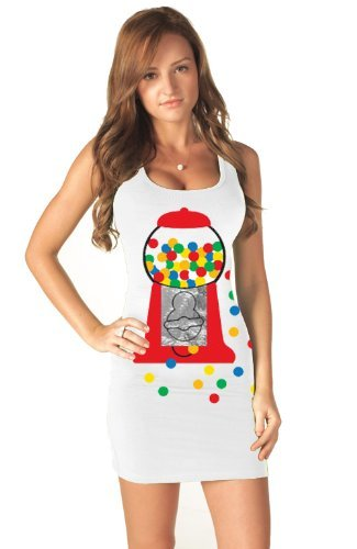 Gumball Popstar Costume Tank Dress as seen on Katy Perry (Juniors Large) ()