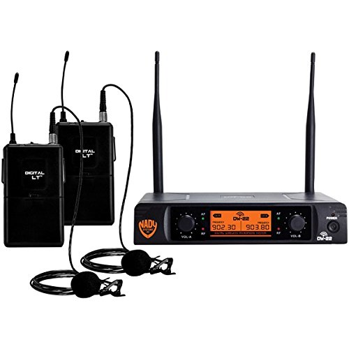 Nady DW-22 Dual Digital Wireless Lapel Microphone System - Dual fixed UHF frequency -Ultra-low latency with QPSK modulation - XLR and ¼