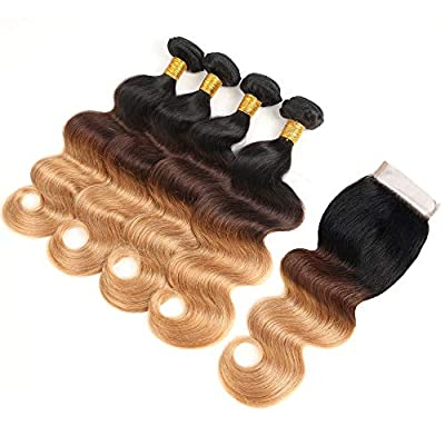 Brazilian 613 Body Wave Bundles with Closure #613 Blonde Human Hair Bundles with Closure 8A Virgin Hair Body Wave 3 Bundles with Closure Free Part