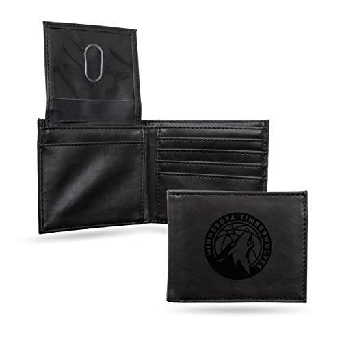 Rico Industries NBA Minnesota Timberwolves Laser Engraved Billfold Wallet, Black
