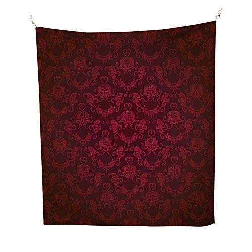 Maroonsimple tapestryVictorian Damask Pattern with Vignette Effect Royal Revival Ancient Rich Motifs 60W x 91L inch Art tapestryMaroon Black